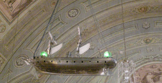 Chapelle Notre Dame de Bon Secours Ship hanging from celling