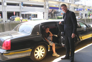 Steven Argen entering Allante Limousine with Dirver Jean-Francois - Photo by Luxury Experience