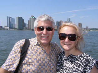 Edward and Debra enjoying the view of New York from the Hudson River  - photo by Luxury Experience