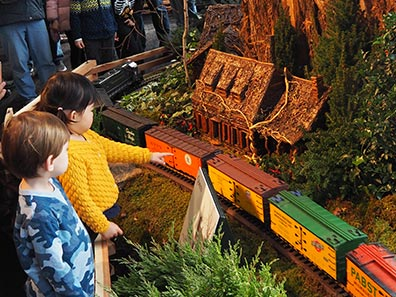 Children At  New York Botanical Gardens The Holiday Trains Show 2019