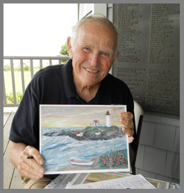 Artist Bill Thompson at Nubble Light - photo by Luxury Experience