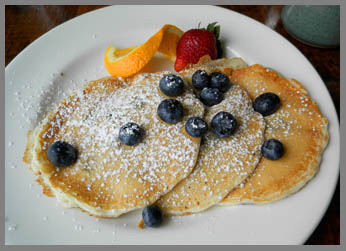 Blueberry Pancakes - The Chart Room, Black Point Inn, Prouts Neck, Maine - photo by Luxury Experience