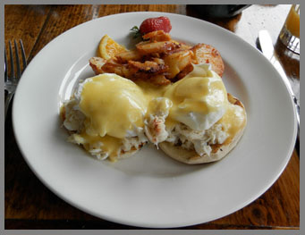 Eggs Benedict with Crab, The Chart Room, Black Point Inn, Prouts Neck, Maine - photo by Luxury Experience