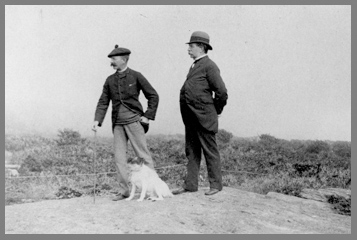 Winslow Homer, Charlie Homer, and Sam the dog walking the coastline of Maine