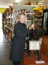 Debra Argen adn Good-Luck Elephant at Marche du Vieux Port - Photo by Luxury Experience