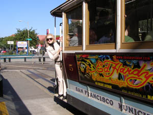 Historic Cable Car - Debra riding the car