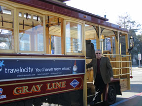 Gray Line Trolley - Ed Hanging On
