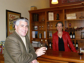 Edward Nesta and Mary Rocca at Rocca Wine Salon, Napa