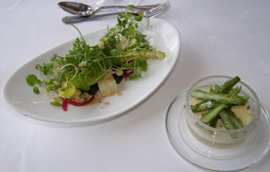 Asparagus Brulee and Mixed Herb Salad