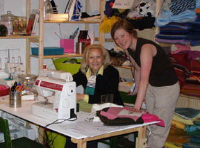 Debra C. Argen sewing at the Dunkers Kulturhaus (Dunker Culture Centre), Helsingborg, Sweden