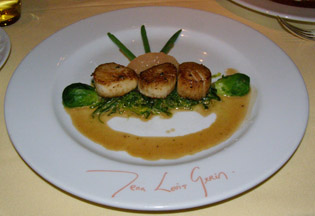 Pan Seared Scallops at Restaurant JEAN-LOUIS, Greenwich, Connecticut  - Photo by Luxury Experience