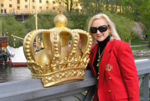 Debra C. Argen with royal crown on the bridge to Skeppysholmen Island, Stockholm, Sweden