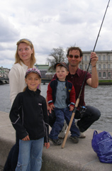 Family fishing in Stockholm, Sweden