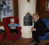 Wilmer Rosenblom chats with Debra at Pippi Longstockings house at Junibacken Musuem, Stockholm, Sweden