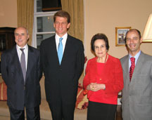 Consul General of Portugal in New York, Ambassador Alexandre Fernandes, Jorge Van Zeller Leitao, guest Gloria Kins, and Eduardo Rafael Deputy Consul General in New York