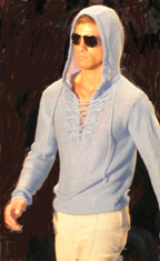 Perry Ellis Hippie Hoodie in Boy Blue - Men's Spring 2009 Fashion
