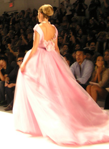 Zang Toi Ice Pink Ballgown with Caught Roses - Photo by Luxury Experience