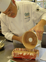 Chef Michael doing pate en terrine demo
