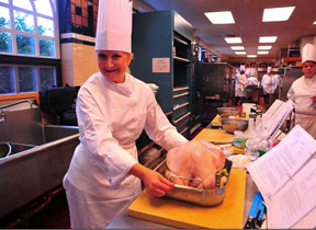Debra Preparing Turkey at Holiday Boot Camp at The Culinary Institute of America in Hyde Park, New York