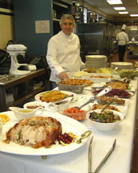 Edward Nesta with Day 1 feast from Holiday Boot Camp at The Culinary Institute of America