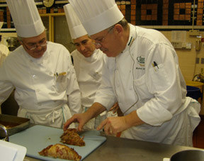 Eugene Manning, Edward Nesta, Chef Michael Skibitcky at Boot Camp at The Culinary Institute of America