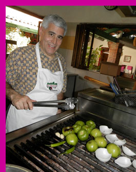 Edward Nesta grilling vegetables at El Arrayan, Puerto Vallarta, Mexico - photo by Luxury Experience