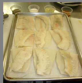 Turbot fillets ready to be deep fried - Chef Paul Liebrandt - New York Culinary Experience - photo by Luxury Experience