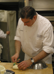 Chef Mark Fiorentino using bread lame - New York Culinary Experience - Photo by Luxury Experience