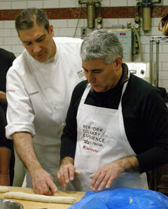 Chef Mark Fiorentino showing Edward how to roll dough - New York Culinary Experience - Photo by Luxury Experience