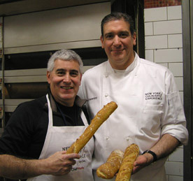 Edward Nesta, Chef Mark Fiorentino with finished baguettes - New York Culinary Experience - Photo by Luxury Experience
