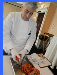Edward Nesta cleaning lobster  - photo by Luxury Experience