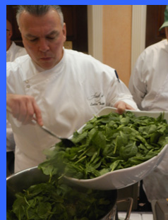 Chef Tripp adding spinach - photo by Luxury Experience