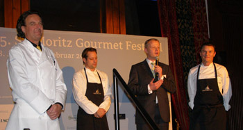 Christopher Cox with Chefs on Opening Night at St. Moritz Gourmet Festival