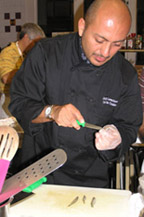 Chef Jordy Lavanderos teaching technique