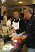 Chef Jordy teaching Marcus how to make gazpacho