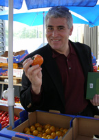 Edward Samples a Tiger Tomato at Vikentomater, Skane, Sweden