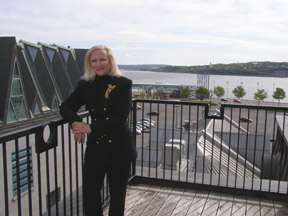 Debra C Argen on Terrace at Auberge Saint-Antoine, Québec, Canada  - Photo by Luxury Experience