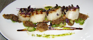 Grilled Scallops and Asparagus at the Rive Gauche, Baur au Lac, Zurich, Switzerland