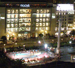 View from Campton Place Suite to Union Square with Ice-skaters