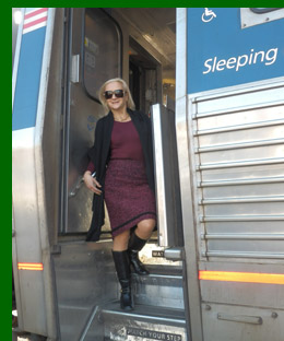 Amtrak - Debra C. Argen boarding train - photo by Luxury Experience