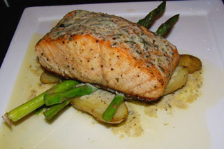 Wild Salmon at Six Peaks Grille - Resort at Squaw Creek, Olympic Village USA, California - photo by Luxury Experience