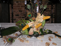 Fanciful Peacock and Corn Arrangement
