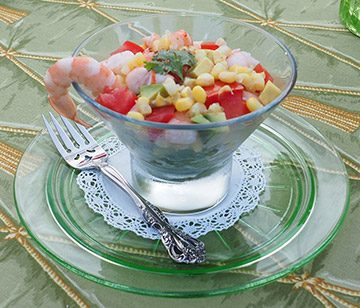 Luxury Experience - Layered Shrimp Salad with LDV Vinaigrette - photo by Luxury Experience