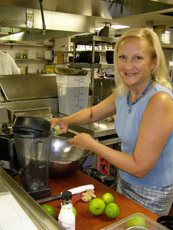 Debra in the kitchen at Ralph's on the Park