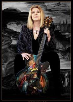 Annie Haslam - handpainted Leonardo de Vinci Fender Guitar