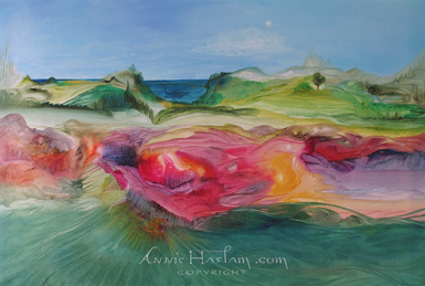 Annie Haslam painting - This Magical Planet - Watermarked