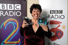 Liane Carroll with 2  BBC Awards, photo courtesy of BBC