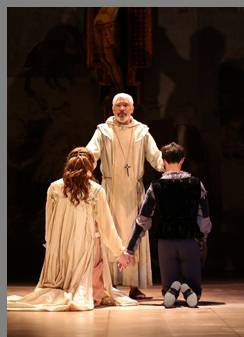James Cusati-Moyer, Nicole Rudenburg, Peter Francis James - Romeo and Juliet -Westport Country Playhouse - photo by Carol Rosegg