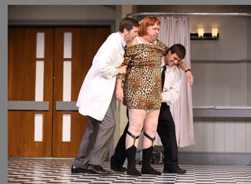 Robert Stanton, Julian Gamble, Chris Ghaffari - What the Butler Saw - Westport County Playhouse - Westport, CT, USA - photo by Carol Rosegg