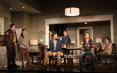 Westport Country Playhouse - Thousand Pines - William Ragsdale, Katie Aillon, Joby Earle, Andrew Veenstra, Kelly McAndrew, Anne Bates - Westport, CT - photo by C. Rosegg